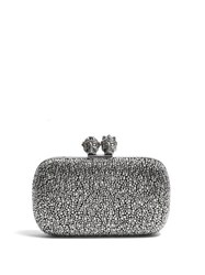 Alexander Mcqueen Queen And King Crystal Embellished Clutch Black Silver