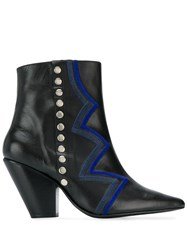 Toga Pulla Zig Zag Ankle Boots Black Leather