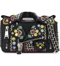 Moschino Hippy Embroidery Leather Biker Jacket Cross Body Bag Black