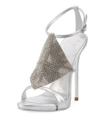 Giuseppe Zanotti Crystal Embellished Dress Sandal Metal Silv