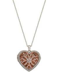 Macy's Cubic Zirconia Pave Filigree Heart Pendant Necklace In Sterling Silver And Rose Gold Plated Sterling Silver