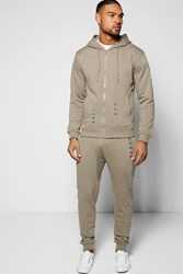 Boohoo Fit Ripped Hooded Tracksuit Olive