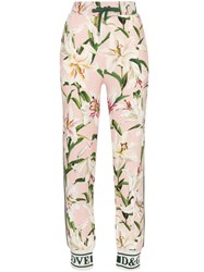 Dolce And Gabbana Cady Lily Print Track Trousers Multicolour