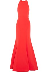 Rebecca Vallance Bow Breakers Open Back Crepe Gown Red