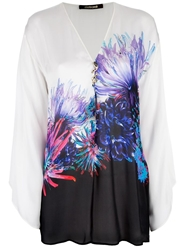 Roberto Cavalli Loose Fit Floral Blouse White