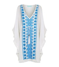 Melissa Odabash Embroidered Fringe Trim Kaftan Female White