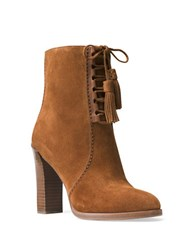 Michael Kors Odile Lace Up Suede Ankle Boots Luggage