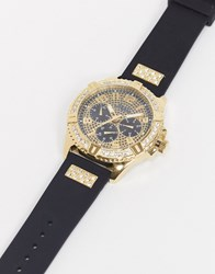 Guess Frontier Leather Watch In Black