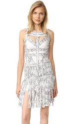 Herve Leger Joseline Fringe Dress Alabaster Combo