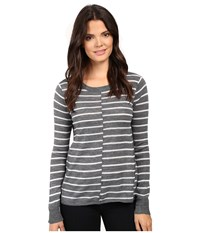 Paige Allie Stripe Sweater Medium Heather Grey Light Heather Grey Stripe Women's Sweater Black
