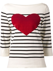 Marc Jacobs Breton Sequin Heart Sweater White