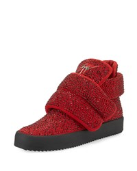 Giuseppe Zanotti Men's Crystal Studded High Top Sneaker Red