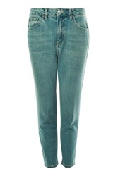 Topshop Petite 28 Green Cast Mom Jeans Mid Stone