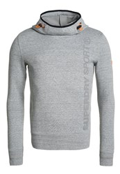 Superdry Gym Tech Funnel Hoodie Grey Grit Mottled Grey