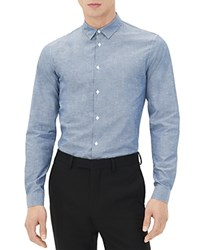 Sandro Seamless Vichy Slim Fit Button Down Shirt Marine