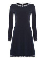 Michael Kors Bayeux Longsleeve Trim Dress Navy