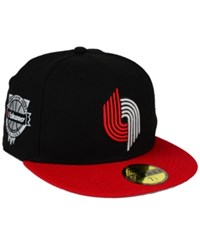 New Era Portland Trail Blazers Anniversary Patch 59Fifty Cap Black Red