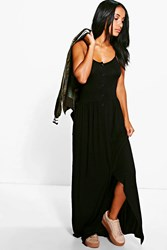 Boohoo Button Front Strappy Maxi Dress Black