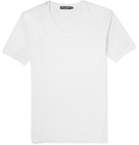 Dolce And Gabbana Scoop Neck Cotton Jersey T Shirt White