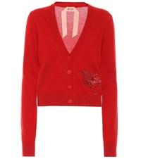 N 21 Sequined Cashmere Cardigan Red