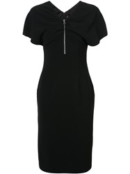 Christian Siriano Zip Front Fitted Dress Black