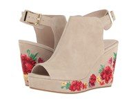 Kenneth Cole Olani Taupe Suede Embroidery Women's Wedge Shoes Beige