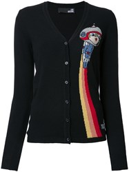 Love Moschino Space Motif V Neck Cardigan Black