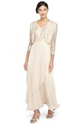 Women's Tahari Sequin Lace And Chiffon Gown With Jacket Champagne