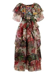 Dolce And Gabbana Floral Print Tie Waist Ruffled Gown Black Multi