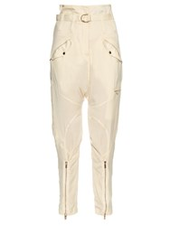 Roberto Cavalli Relaxed Leg Dropped Crotch Satin Trousers Cream