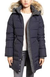 Pajar Women's Chloe Contrast Detail Down Parka With Genuine Fur Trim Navy