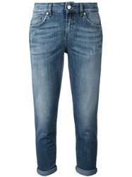L'autre Chose Cropped Turn Up Jeans Blue