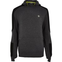 River Island Mensri Active Grey Panel Fluro Sports Hoodie