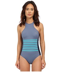 Dkny A Lister Racer Front Maillot W Stripping Detail Removable Soft Cups Currant Women's Swimsuits One Piece Red