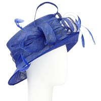 John Lewis Louisa 2 Sinamay Feather Quills Loop Occasion Hat Cobalt