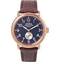 Shinola The Runwell 41Mm Pvd Rose Gold Plated And Pebble Grain Leather Watch Red