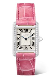 Cartier Tank Louis 22Mm Small Rhodiumized 18 Karat White Gold