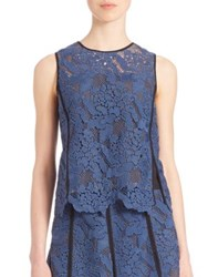 Msgm Contrast Trim Lace Tank Top Blue