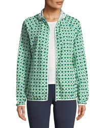 Tory Sport Printed Packable Performance Jacket Green Pattern