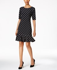 Jessica Howard Petite Polka Dot Flounce Dress Black Ivory