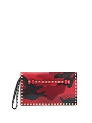 Valentino Studded Leather Wristlet Red