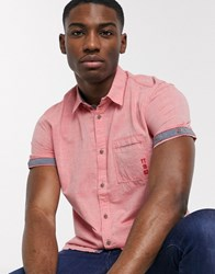Tom Tailor Short Sleeve Chambray Shirt Red