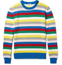 Saint Laurent Striped Cotton Sweater Red