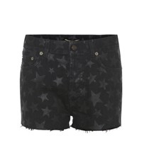 Saint Laurent Star Printed Denim Shorts Black