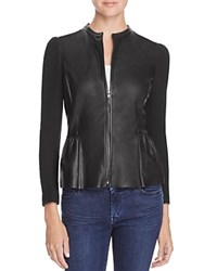 Rebecca Taylor Knit And Leather Jacket Black
