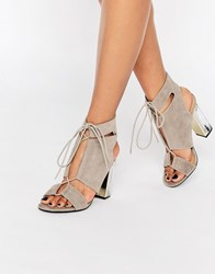 Truffle Collection Cut Out Lace Up Sandal With Clear Heel Grey Mf