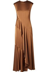 Sies Marjan Zariah Draped Satin Crepe Maxi Dress Light Brown