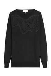 Emilio Pucci Embroidered Wool Pullover Black