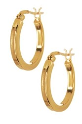 Argentovivo 18K Gold Plated Sterling Silver Small Flat Hoop Earrings Metallic