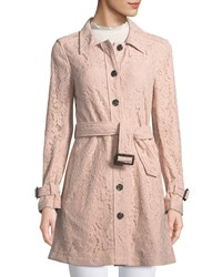 Cupcakes And Cashmere Auretta Button Front Belted Lace Pea Coat Light Pink